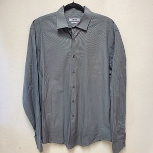 DKNY Gray slim fit button front career dress shirt